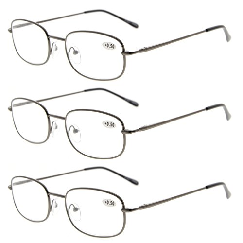 Spring Hinged Readers - Eyekepper Metal Frame Spring Hinged Arms Reading Glasses 3 Pair Valupac Metal Readers +1.25