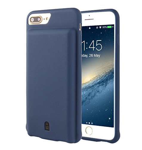 i.VALUX iPhone 6 Plus / 6s Plus / 7 Plus (not for iPhone 6 / 6s / 7) Battery Case Charger 7000mAh External Battery Backup Protective Charger Case (Navy Blue)