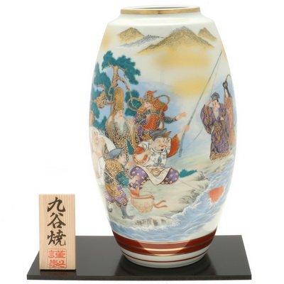 Kotobuki Japanese Vase: 11''H Kutani Seven Lucky Gods #510-580 by 123kotobukijapanstore