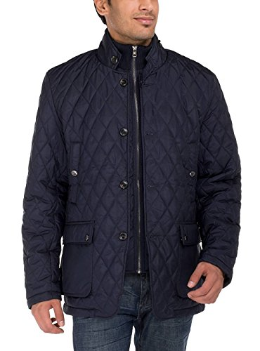 LN LUCIANO NATAZZI Men's Quilted Puffer Jacket with Double Knit Collar (2X-Large, Dark Navy)