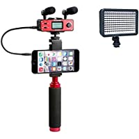 Saramonic SmartMixer Professional Recording Microphone Rig for iPhone, iPad, iPod, Mac, and Android Smartphones with a Polaroid Professional 160 LED Video Light for HD Quality Videography