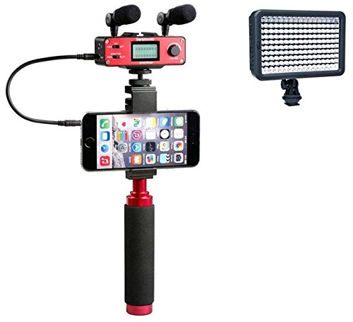 Saramonic SmartMixer Professional Recording Stereo Microphone Rig for iPhone, iPad, iPod, Mac, and Android Smartphones with a Polaroid Professional 160 LED Video Light for HD Quality Videography