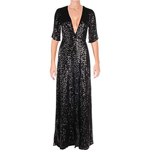 (Aidan by Aidan Mattox Women's Plunging Sequin Wrap Dress, Black, 6)