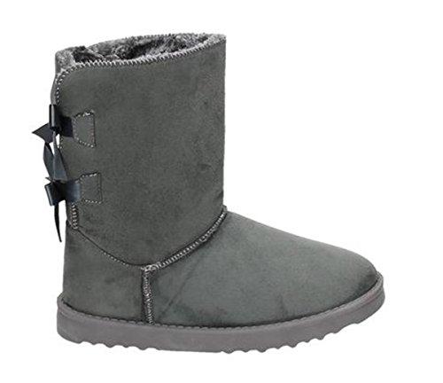 King Of Shoes Damen Stiefeletten Schnee Stiefel Boots Flache Schlupfstiefel Warm Gefüttert Winter Schuhe 783 Grau 18