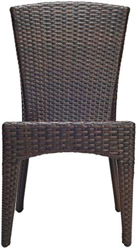 Safavieh Patio Collection New Port Wicker Stackable Outdoor Chairs, Brown, Set of 2 (Wicker Dining Chairs Cheap)