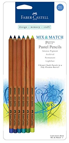 Faber Castell Design - Faber-Castell Design Memory Craft PITT Pastel Pencils, Ultra Fine Point with India Ink for Journaling and Calligraphy, Set of 6 - Cool Blue/Green