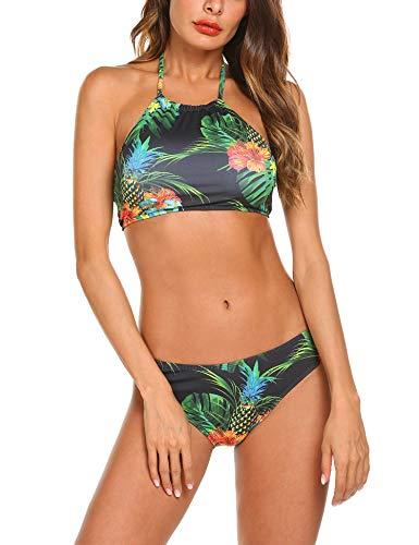 Leaf Halter Print (Ekouaer Womens Forest Leaves Printing High Neck Halter Bikini Set Swimsuit,5446_print,XX-Large)