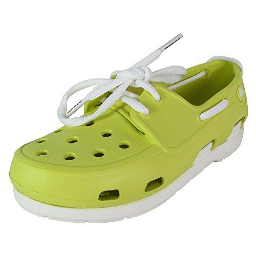Croc Shoe Front (Crocs Kids Beach Line Lace up Boat Shoes, Chartreuse/White, US 13 Little Kid)