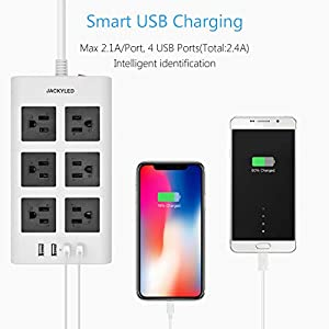9.8ft USB Power Strip Surge Protector – JACKYLED Flat Plug Long Extension Cord 4 USB Ports 6 Outlets Fast Charge Electric Outlet Fireproof Desktop Charger Compatible with Phone Computer Laptop – White