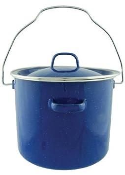 Camping Blue Enamel Pot with Metal Bail Handle, 4qt