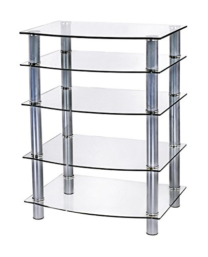 Naomi Home 5 Tier Glass AV Component Media Stand Silver/Clear