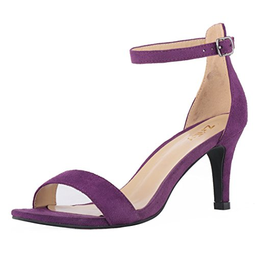 ZriEy Women's Heeled Sandals Ankle Strap High Heels 7CM Open Toe Mid Heel Sandals Bridal Party Shoes Velvet Purple Size 7 ()