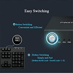 GHT HDMI KVM Switch 2 Port HDMI 2.0, 2X1 UHD 4K@60Hz, Support Hotkey Switch, USB 2.0 Device and Wireless Keyboard Mouse, with 2 HDMI and USB Cables.