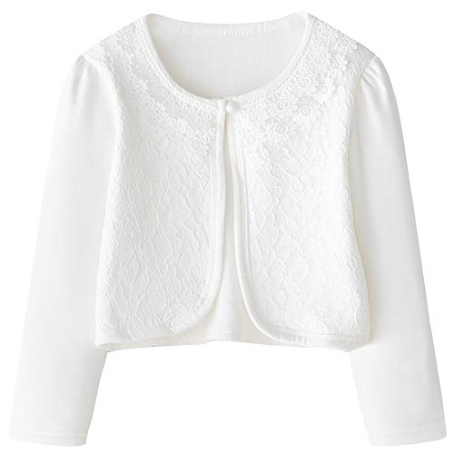 CHENXIN Girls Plus Velvet Shrug Knit Long Sleeve White Fleece Lace Bolero Cardigan Shrug (Off-White, 3-4T) -