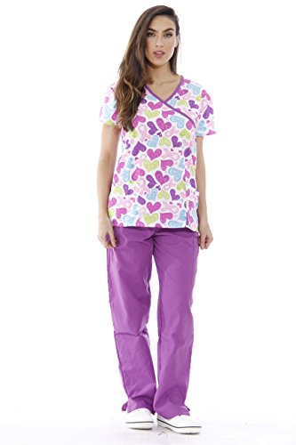 1311W-13-L Just Love Nursing Scrubs Set for Women / Print Scrubs,White Ribbon Heart With Purple Pants,Large