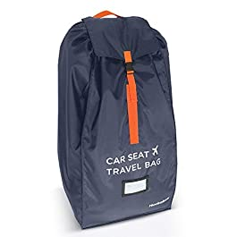 Car Seat Travel Bag – Strong Non Rip Nylon, Fits All Sizes, Navy, with Sun Shade