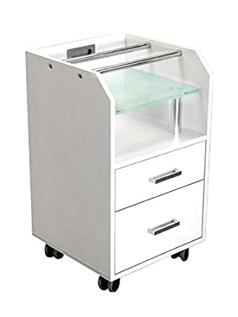 Glass Glow Pedicure Trolley WHITE Cart for Nail Salon Furniture & Equipment