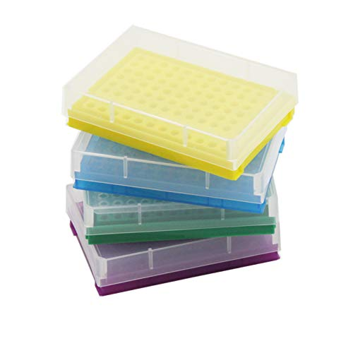 PCR Tube Rack for 0.2ml Micro-Tubes, 8 x 12 Array Pack of 4(Blue/Yellow/Purple/Green)