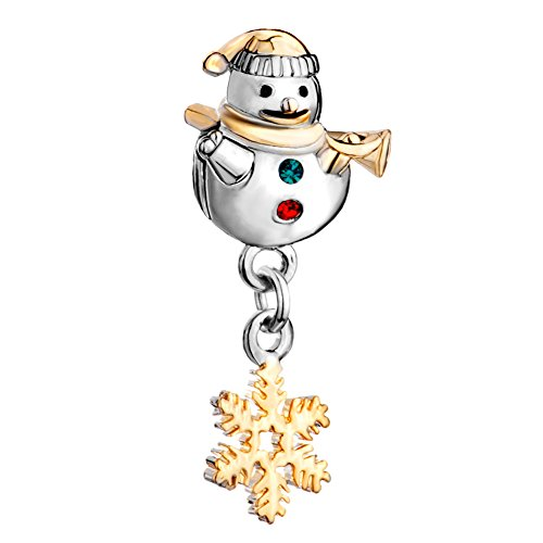 CharmsStory Snowflake Snowman Charms Red Simulated Birthstone Synthetic Crystal Bead For Bracelets (Charm Red Snowman)