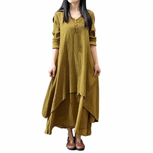Mujer Casual Suelto Manga larga Lino Vestir, WINWINTOM Boho Largo Fiesta Maxi Vestido Amarillo