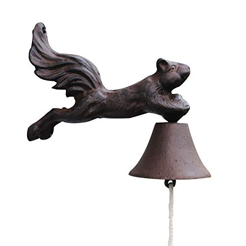 (Sungmor Heavy Duty Cast Iron Hanging Wall Bell,Hand-Operated Decorative Door Bell,Wall Mounted Stereoscopic Squirrel Bell,Garden & Home & Store & Outdoor)