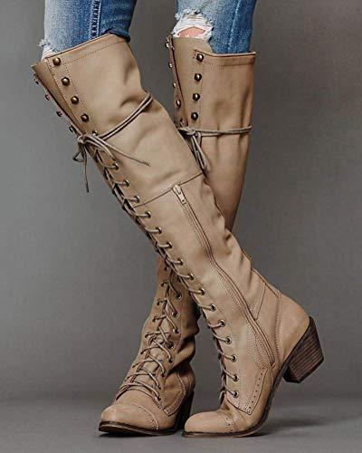 Alta Encaje Largo Hasta Minetom Moda Rodilla Ancho Mujer Botas Pu Cremallera Caqui Boots Planos Botines Zapatos Tacón Invierno Otoño Cuero w4PTa1q4