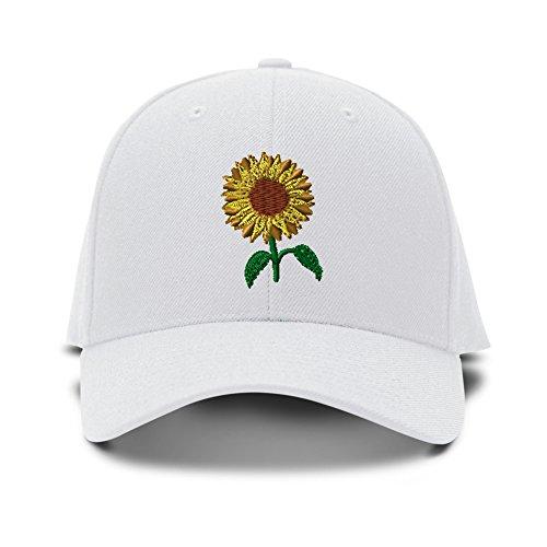 White Structured Adjustable Hat (Sunflower Embroidery Adjustable Structured Baseball Hat White)