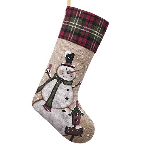 Valery Madelyn 21 inch Country Burlap Christmas Stockings with Snowman and Tartan Cuff, Themed with Tree Skirt (Not Included) (Wreaths Country Style Christmas)
