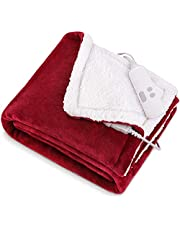 """Electric Blanket 50"""" x 60"""" Heated Throw with 6 Heating Levels & 1-5H Auto-Off Timing Settings, Shu Velveteen & Flannel Fast Heating Blanket, Machine Washable & Home Office Use"""