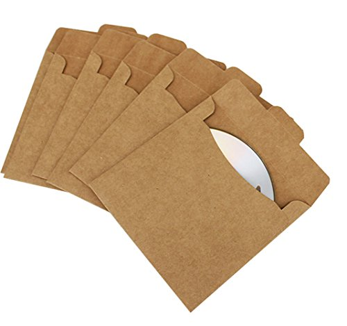 Buthneil 50 Packs Kraft Paper CD Sleeves DVD Envelopes 5