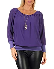 malito dames blouse met bijpassende ketting | Tuniek met 3/4 mouwen | Blouse shirt met breed boord | Elegant - Shirt 1133