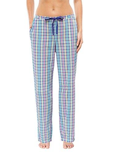 Schiesser Damen Pyjama Hose lang, Türkis, Mix & Relax, Gr. 36 (S)