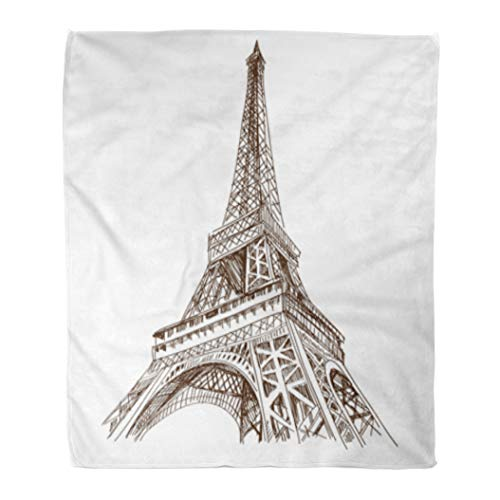 Golee Throw Blanket Sketch Eiffel Tower Paris France Architecture Building City Scape Comic 60x80 Inches Warm Fuzzy Soft Blanket for Bed Sofa