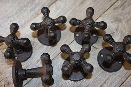 (Southern Metal Farmhouse Kitchen Cabinet Knobs Pulls Cast Iron Faucet Handle (6 Pieces) H-89 )