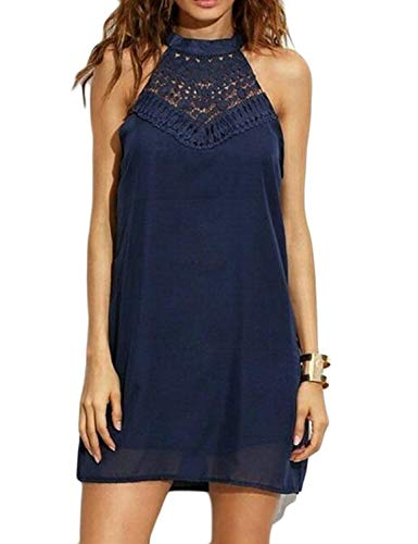 Sweetnight Womens Halter Neck Chiffon Tunic Tank Dress T Shirt Dresses Navy Blue S