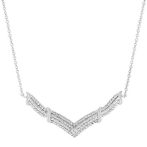 Lumineux Diamond Womens 18K White Gold Plated Brass Pave Diamond Accent