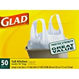 Glad Tall Handle-Tie Kitchen Trash Bags - 13 Gallon - 50 Count - 4 Pack (Packaging May Vary) (2 Pack(200 Count))