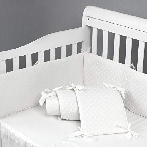 Baby Crib Bumper Pads for Standard Cribs Machine Washable Padded Crib Liner 100% Silky Soft Microfiber Polyester, 4 Pcs/White ... ()