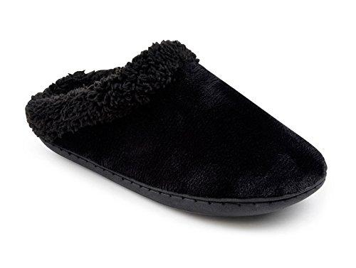 Ladies SlumberzzZ de espuma viscoelástica con Silky microduede forro polar Mule Zapatillas negro