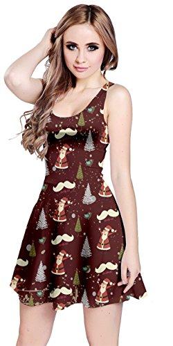 Cowcow Femmes Noël Noël Père Noël Robe Sans Manches D'hiver De Neige De Cerfs, Xs-5xl Moustache Père Noël