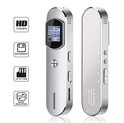 Digital Voice Recorder,KeShi Voice Activated Recorder for Lecture, Meeting, Interview-1536kbps 8GB Professional Audio Recorder with USB Charge,up to 72GB Expansion