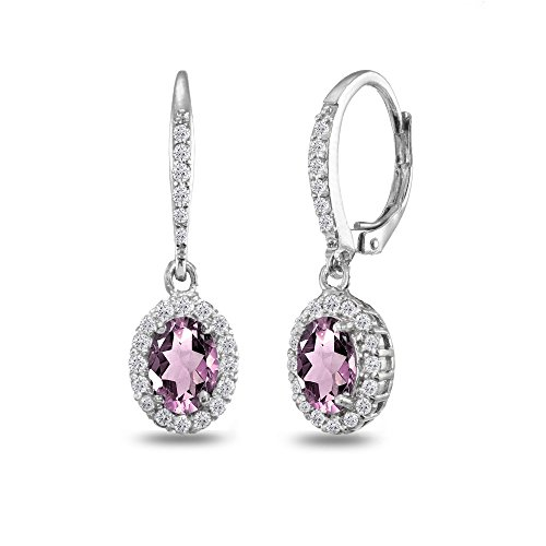 Sterling Silver Simulated Alexandrite Oval Dangle Halo Leverback Earrings with White Topaz -
