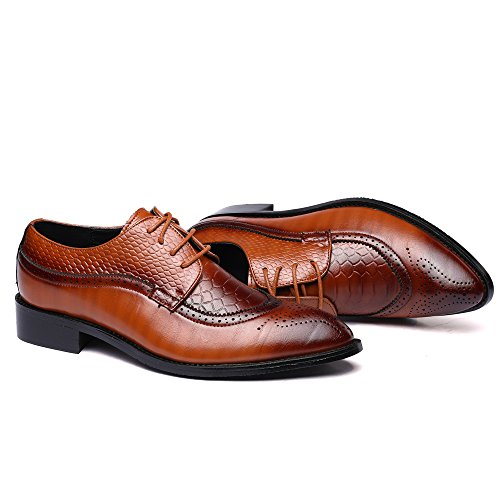 Retro Shoes Oxfords Leather Business Gentleman Dress Brown Men's WULFUL xqTZfwYn