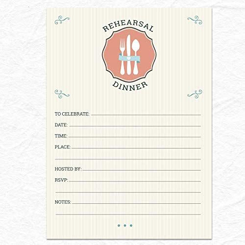 - Pinstripe Classic Cutlery Rehearsal Dinner Invitation, 10 Fill-in 5x7 inch Invites and Envelopes
