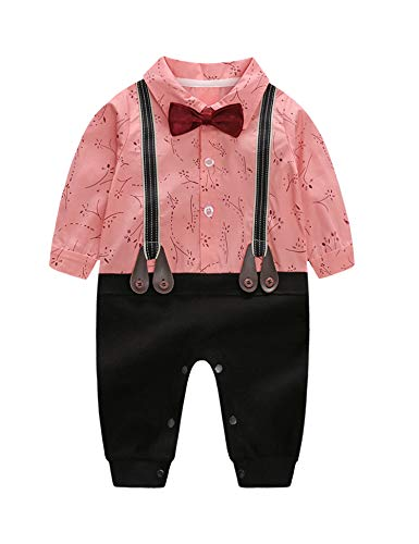 D.B.PRINCE Infant Newborn Baby Boy Long Sleeves Gentleman Romper Suits Dress Clothes Outfits with Bow Tie (Pink, 0-3 Months) ()
