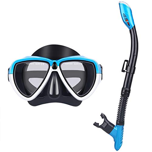 mountop Dry Top Snorkel Set - Watertight & Anti-Fog Scuba Diving Mask, Impact Resistant Tempered Glass, Easy Adjustable Strap, Snorkeling Mask for Adult & Youth ()