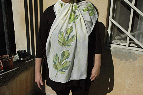 Hand Painted Silk Scarf with Fig Leaves/Fig Tree/Scarf gift for wife/Leaf Art/Leaf Decor/Design scarf/Fig Leaves scarf Painted/Gift - Fig Trees Silk
