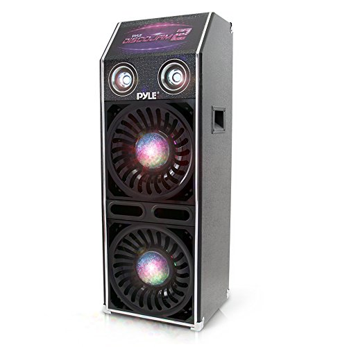 "DJ Dance Passive Speaker System - 1500 Watts Power PA Stereo Dual 10"" Woofer 3"" Tweeter Full Range Stereo Sound Built-in Flashing Color Lights MP3 File Compatibility - Pyle PSUFM1070P (10' Enclosure Ported Subwoofer)"