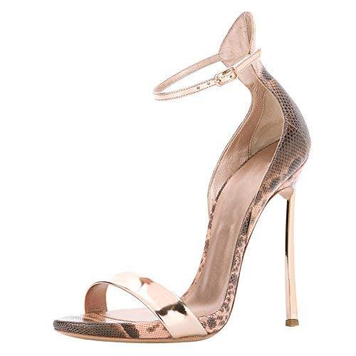 Open High Toe Strappy Stiletto Metal Heels Snake Strap Onlymaker Sandals Women's Ankle 5HWn8wRq
