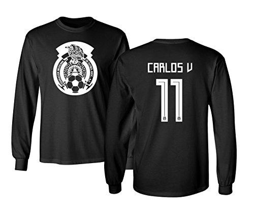 baef1ab07 Tcamp Mexico 2018 National Soccer  11 Carlos VELA World Championship Men s  Long Sleeve T-Shirt (Black